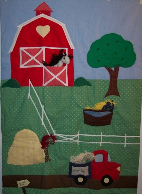Baby Quilt Pony Farm Quilt with Removable Ponies by LuRuUniques on Etsy