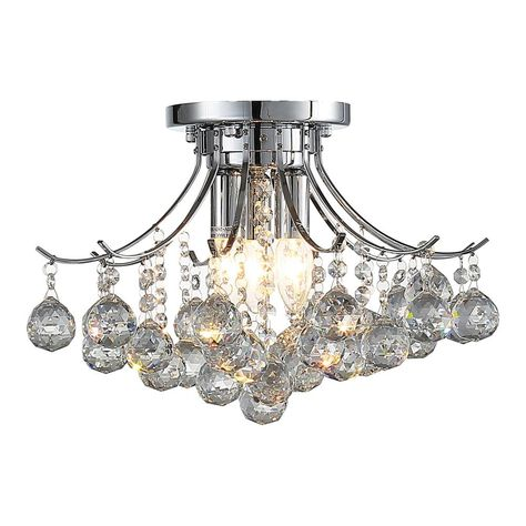 Warehouse Of Tiffany Antoinette 3 Light Chrome Crystal Indoor
