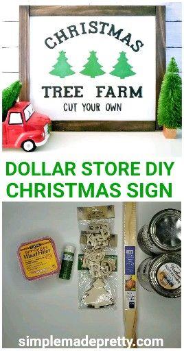 DOLLAR TREE DIY Farmhouse Christmas Tree Sign - Dollar Tree Christmas Sign, DIY Farmhouse Sign