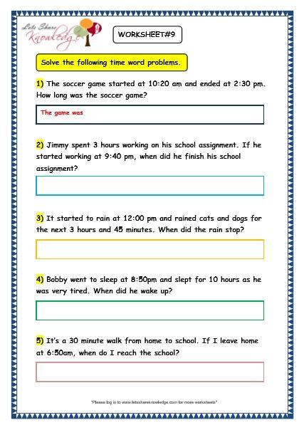 Grade 3 Maths Worksheets 8 5 Time Problems 3rd Grade Math