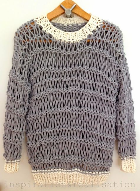 This open knit sweater by Inspiration & Realization is inspired by Richard Nicoll's Resort Collection.  Try it with Lion Brand's t-shirt yarn, Fettuccini.
