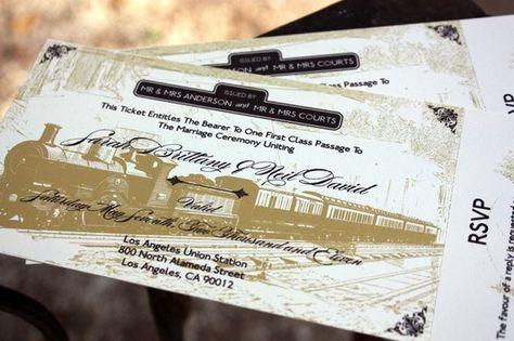 Vintage Locomotive Train Ticket Wedding Invitation by nellybean, $3.75  Unique custom wedding invitations  www.nellybean.etsy.com  www.nelliadesigns.com