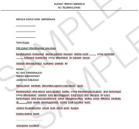 Contoh Surat Pengesahan Dari Majikan Surat Tulisan Proposal