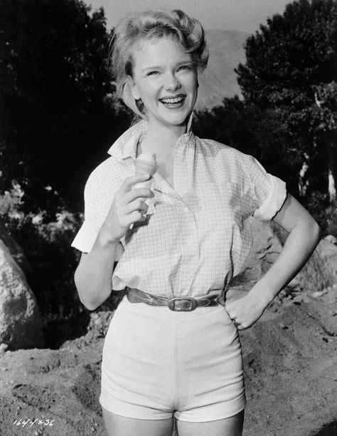 Publicity photo of Anne Francis, taken while on location for MGM's Bad Day at Black Rock (1955).