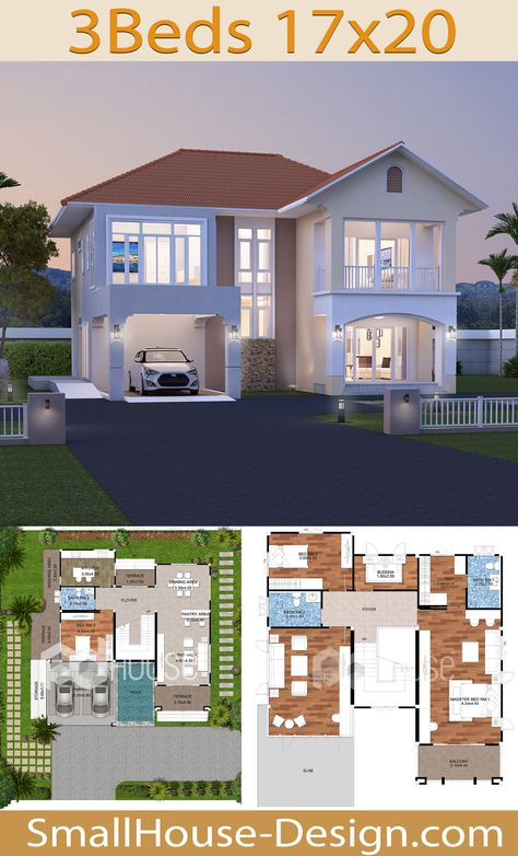 Modern House Plans 17x20 with 3 Bedrooms. EARTH HOME SERIES Tropical StyleLine EA-134, 2-story house 3 bedrooms, 3 bathrooms.  Parking for 2 cars, Usable area, 306 square meters, Land area 90 Square Wah, 17.5 meters wide 20.5 meters long