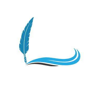 Quill Feather Pen With Blue Wave Vector Logo Design Feather Clipart Feather Icons Logo Icons Png And Vector With Transparent Background For Free Download In 2021 Vector Logo Design Waves Icon