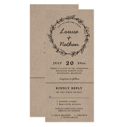 Wreath Wedding Invitation With Rsvp Attached Wedding Invitations Rsvp Wreath Wedding Invitations Wedding Invitations