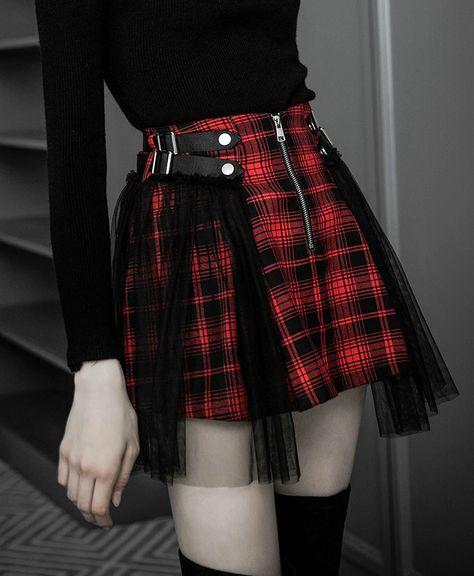 2019 New arrival autumn winter wome Japanese Harajuku Black Red Plaid Gothic Punk Rock Vintage Short Skirt mini skirts-i