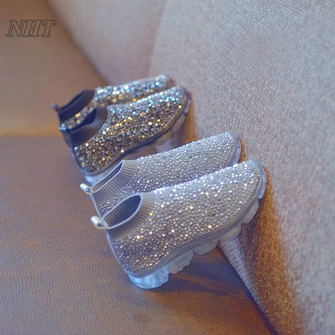 amazing luxury rhinestones boots for girls slip-on kids footwear elastic silhouette air sole comfortable children shoes