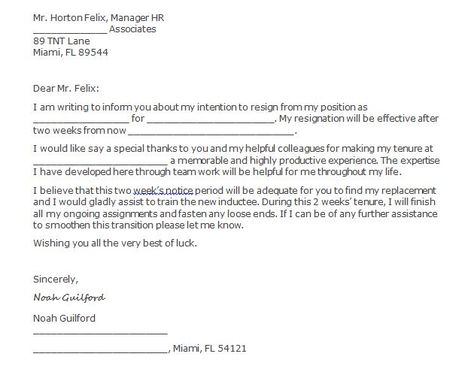 Two Weeks Notice Letters  Resignation Letter Templates  Gggg