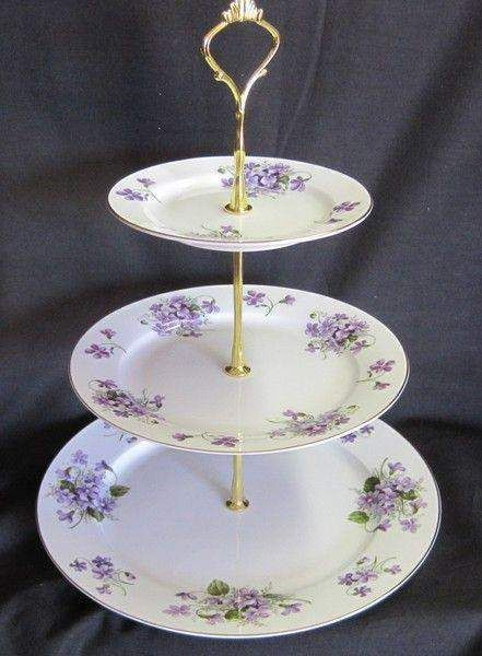 3 Tier Wild Violet Bone China Cake Stand Roses And Teacups Cake Stand Tiered Cake Stand Tea Cake Stand