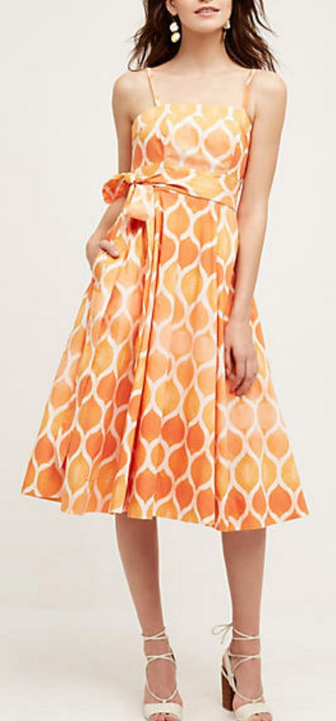 Poplin Side-Tie Dress in Marigold Trellace Pattern