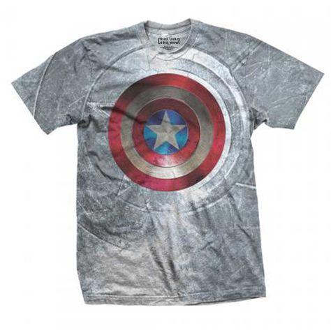 Marvel Comics Unisex Tee: Captain America Civil War Shield (Sublimated) (White) - XX-Large / White / Unisex