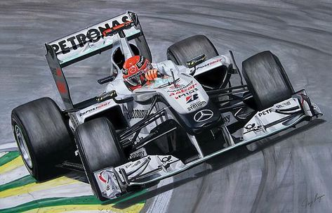 Sleeping Giant - Michael Schumacher Mercedes F1 Art by Tony Regan
