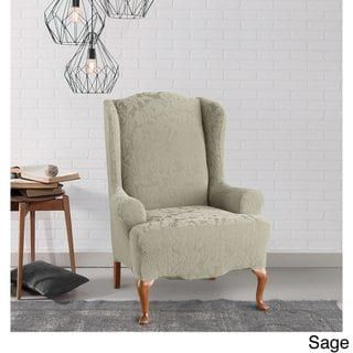 Sure Fit Stretch Jacquard Damask Wing Chair Slipcover Slipcovers For Chairs Wing Chair Slipcovers