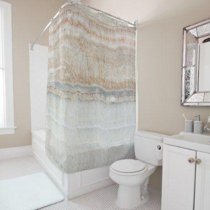 Minimalist Modern Chic Beige Tan White Grey Marble Shower Curtain