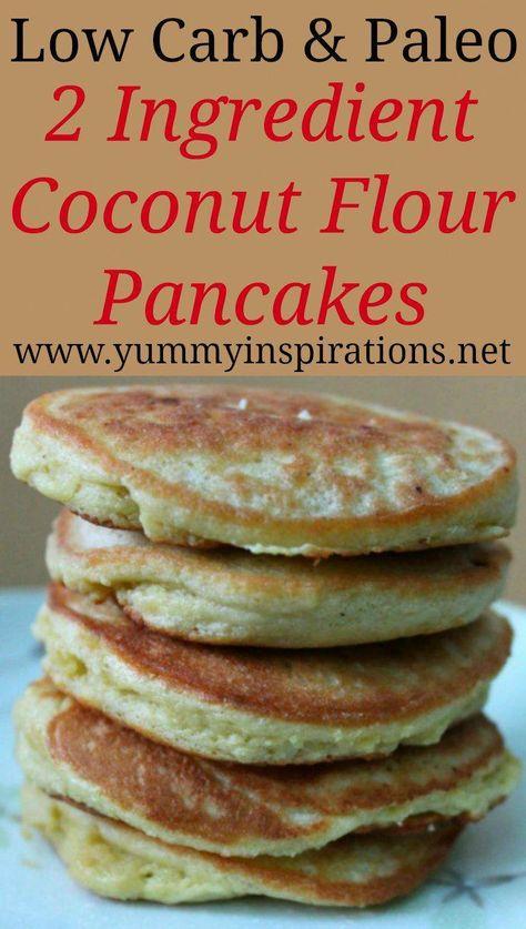 2 Ingredient Gluten Free Coconut Flour Pancakes Recipe – Easy Dairy Free, Paleo, Low Carb & Keto friendly pancake recipe – perfect for a gluten free breakfast. #VegetarianKetoRecipes