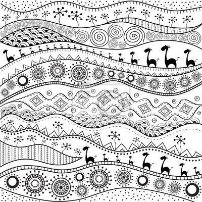 Afrikanischen Handgezeichneten Ethno Muster Stammes Hintergrund Fototapete Fototapeten Ethno Farben Muster Malen Afrikanische Muster Muster Illustration