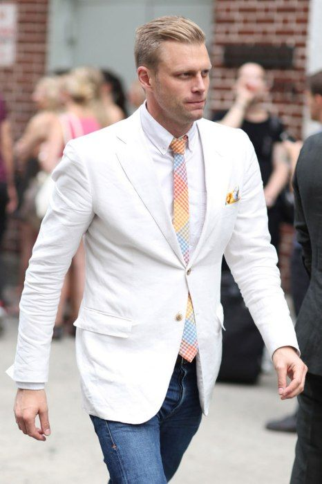 White jacket with pastel tie at New York's Fashion Week 2012.