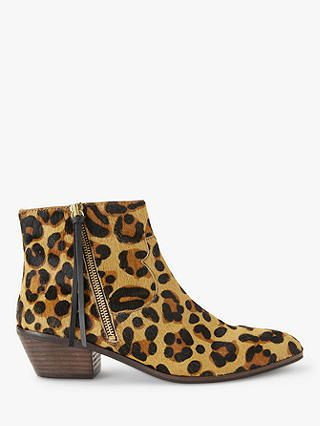ANDOR Paquita Flat Heel Ankle Boots, Leopard | Autumn