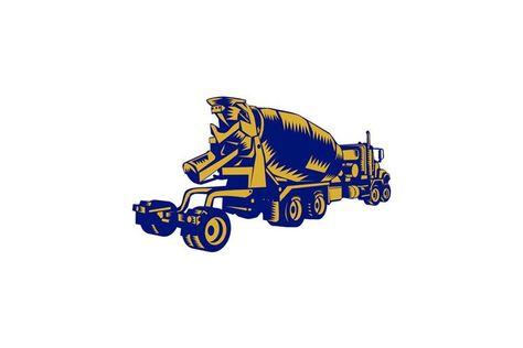 Cement Truck Rear Woodcut (226837)   Illustrations   Design Bundles