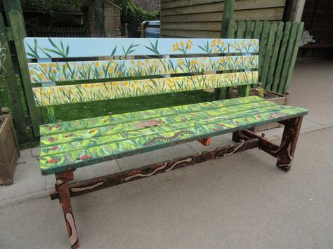 37 Park Bench Ideas Painted, Hand Painted Outdoor Benches