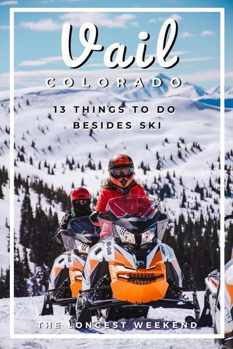 Heading to Vail, Colorado this winter but wondering what to do in Vail besides ski? Read this travel guide featuring the best things to do in Vail other than skiing, the best apres ski in Vail, the best spas in Vail, and how to make the most of your trip. Chile Colorado, Telluride Colorado, Breckenridge Colorado, Estes Park Colorado, Boulder Colorado, Colorado Winter, Visit Colorado, Skiing Colorado, Pelo Colorado