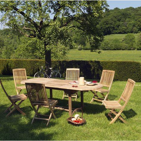 Table de jardin de repas Azur ovale naturel de 6 à 8 ...
