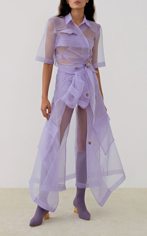 Tuscan Double-Breasted Sheer Trench Coat by Nanushka