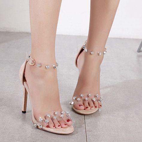 af776954cf07 Jelly Rhinestone Rivet Stiletto Dress Sandals