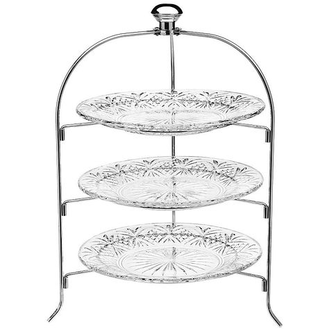 Dublin By Godinger 3 Tier Glass Server Tiered Serving Trays Tiered Stand Tiered Server