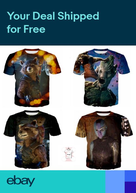 7fc4c34b2dcc Guardians of the Galaxy 3D T-Shirt Marvel Baby Groot Rocket Raccoon Comics  Movie