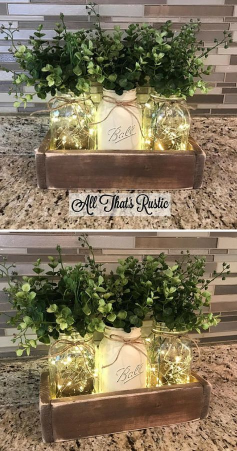 Centre de table Mason Jar, décor de ferme, décor de table de ferme, lumières de … - Mariage Deco