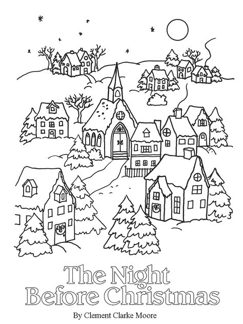 Christmas Landscape Coloring Pages | wool art- rug hooking ...