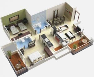 Awesome 25 More 3 Bedroom 3d Floor Plans 1000 Sq Ft House Small Three 4 Room House Planning 3d Images Hous House Plans House Plans For Sale House Floor Plans