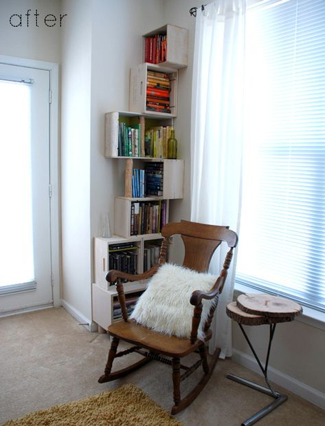 DIY Stacked Crate Bookshelf