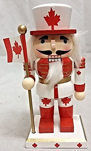 Canadian Man Holding Flag Chubby Wooden Christmas Nutcracker 7 Inch ** Learn more by visiting the image link.
