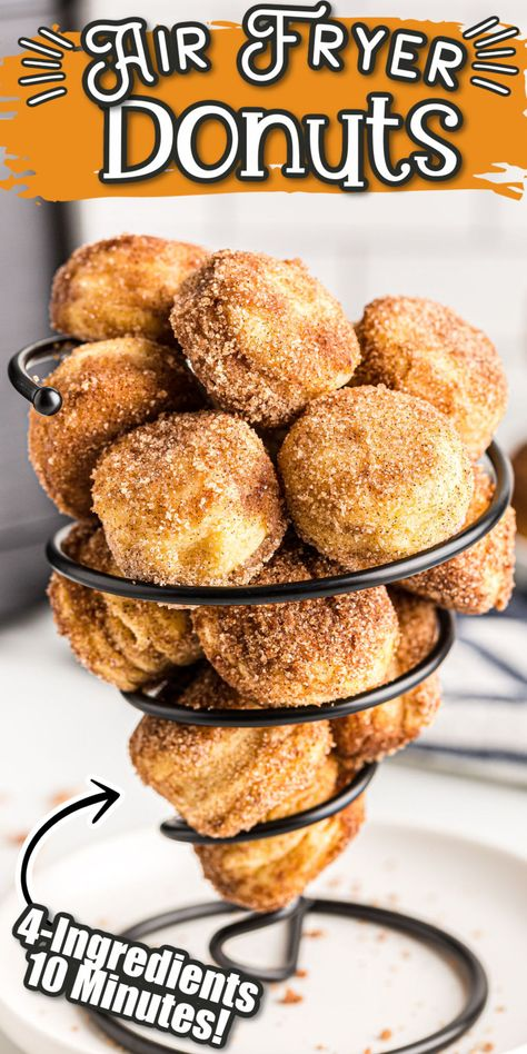 These Easy Air Fryer Donuts will satisfy your donut cravings in under 10 minutes! With a can of refrigerated biscuits, some cinnamon sugar, butter, and an air fryer you will be sinking your teeth into these super simple flakey homemade donuts in no time.