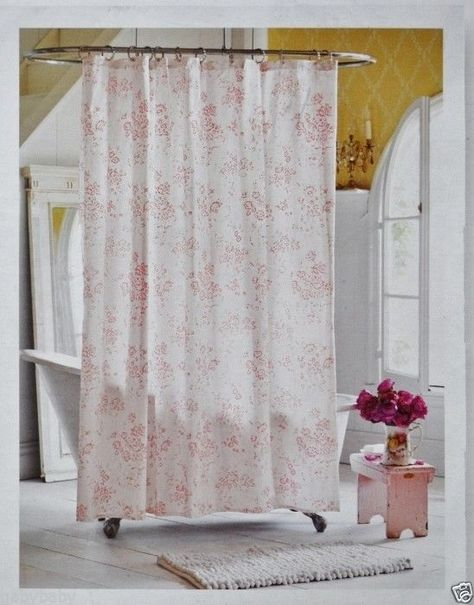 Rachel Ashwell Simply Shabby Chic Shower Curtain Pink Cottage Rose Toile Cotton 6999 Beautiful
