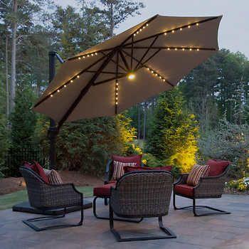 led solar offset umbrella