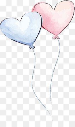 2020 的 Romantic Watercolor Love Balloon Vector Png Balloon