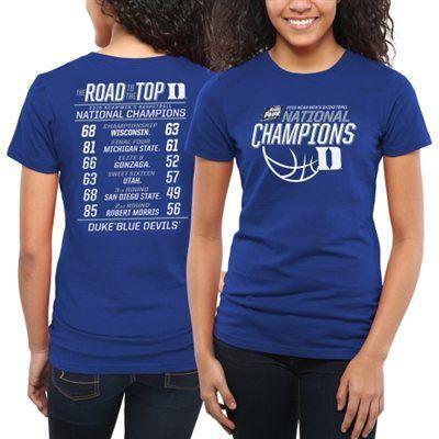 0fcec2e466a2 Duke Blue Devils Women s 2015 NCAA Men s Basketball National Champions All  Score Fitted T-Shirt - Duke Blue