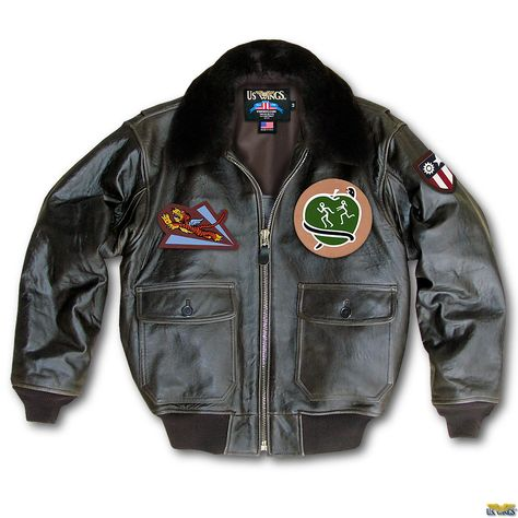 Our AVG Flying Tigers Jacket Italian Goatskin features real mouton fur collar, leather AVG patch, & your choice of leather squadron patch.