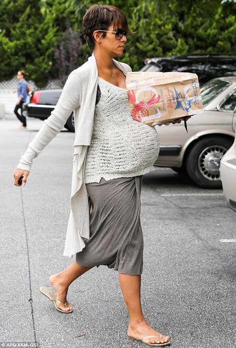 Heavily pregnant Halle Berry masters maternity chic for grocery run Any day now! Halle Berry was making the most of her final days of pregnancy on Friday as she took a trip to Bristol Farms grocery store in B…