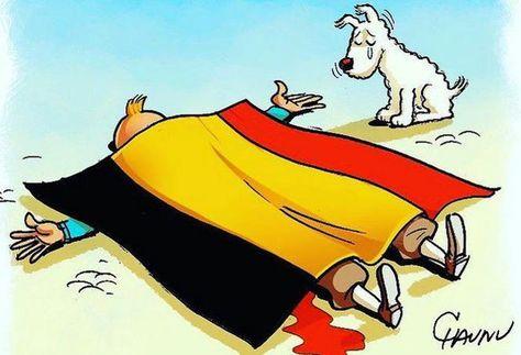 Le dessianteur Chaunu a également mis en scène le héros de Hergé, mort dessous le drapeau belge.