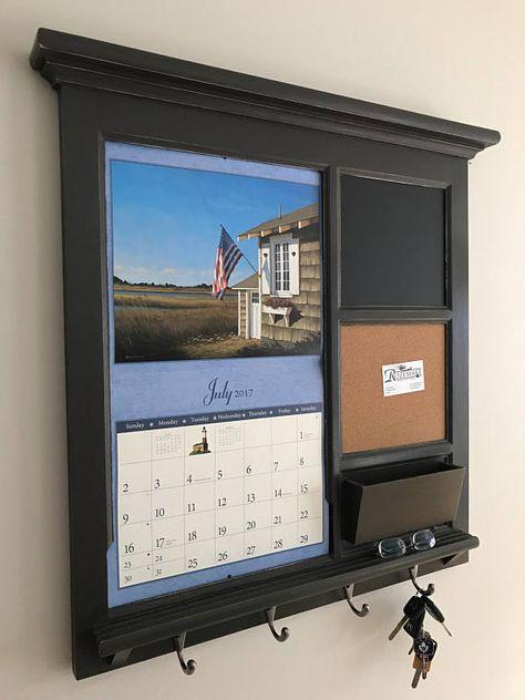 Home Decor Wall Lang Calendar Front Loading Mail Organizer Family Planner Storage Shelf Bulletin Board Cork Chalk