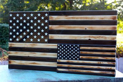 Large And Small Subdued American Flag With 50 Stars Wooden American Flag Wooden Flag Diy Wood Projects