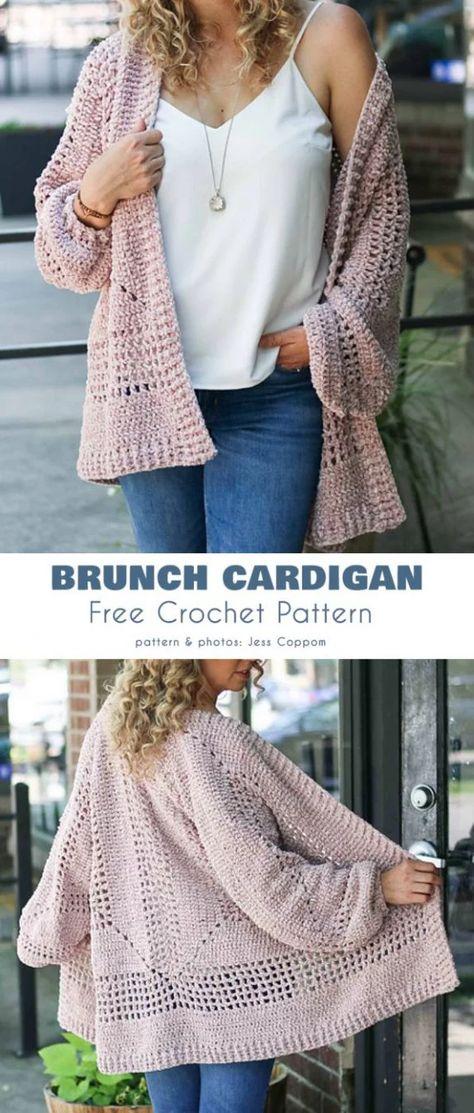 Brunch Cardigan free crochet pattern - knitting is as easy as 3 . - Brunch Cardigan free crochet pattern – knitting is as easy as 3 knitting comes down to thre - Cardigans Crochet, Crochet Clothes, Gilet Crochet, Crochet Shawl, Diy Crochet Cardigan, Crochet Shrugs, Crochet Fox, Thread Crochet, Crochet Blankets