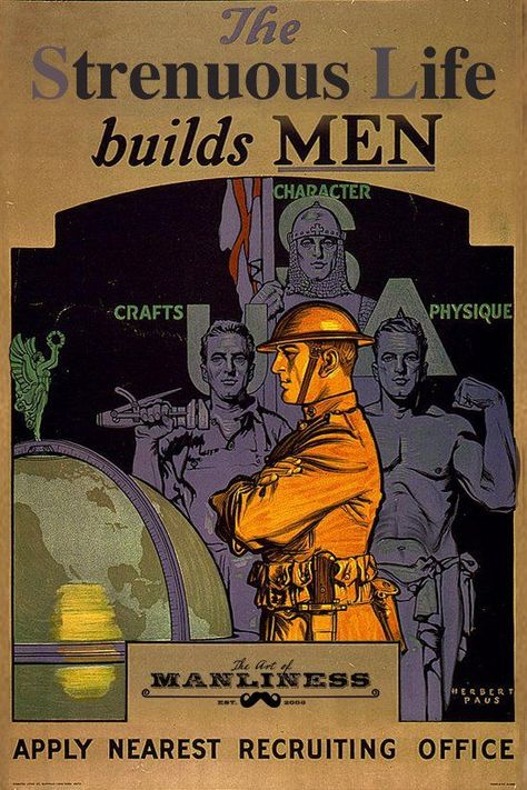 1919 POSTER WWI ''The United States Army builds men. Apply nearest recruiting office'' Herbert Andrew Paus Art Of Manliness, Ww1 History, Find Your Friends, Propaganda Art, United States Army, Buy Prints, World War I, Vintage Men, Martial Arts
