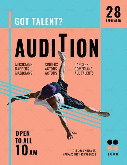Audition Flyer Template Dance Poster Design Event Advertising Flyer Design Inspiration